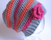CROCHET PATTERN - Sweet & Simple - A striped beanie (or slouchy) hat with roses in 5 sizes (Baby - Adult) - Instant PDF Download