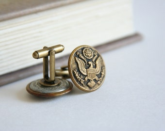 US Army Cufflinks Eagle Cuff Links - made with vintage military buttons