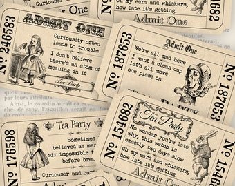 Alice in Wonderland Printable Tea Party Tickets quotes invitation digital download digital instant download digital collage sheet - VD0387