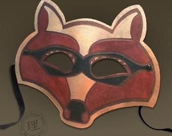 Full Grain Leather Raccoon Mask - Animal - Halloween - Masquerade - WallArt Hand Painted Vegetable Tan