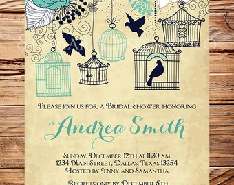 Vintage Birdcage Invitation,Bridal Shower Invitation,Birdcages, Birds, Teal, White, Blue, Coral, Wedding Shower,Birds,Birdcages, 5252