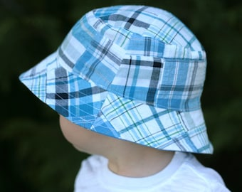 boy's bucket hat, patchwork plaid anchors, reversible, 5 sizes