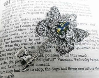 The Butterfly Effect Key - Aged silver plated brass filigree pendant - Fantasy fairytale jewelry - Blue/Gold/Silver