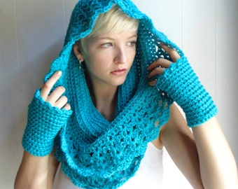 Crochet PATTERN - Starlight Cowl and Fingerless gloves- Infinity Scarf