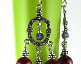 Marcasite & Fushia Pearl Earrings