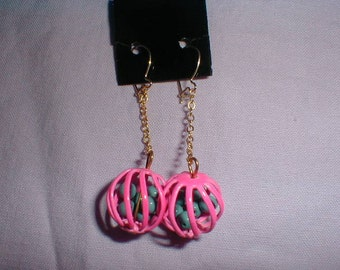 vintage neon pink dangle earrings caged blue beads drop earrings filigree ball earrings fun bright earrings pierced earrings da-glo