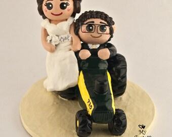 Bride and Groom Tractor Custom Wedding Cake Topper