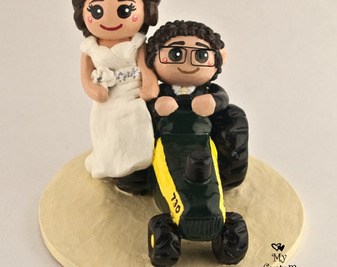 Bride and Groom Tractor Custom Wedding Cake Topper