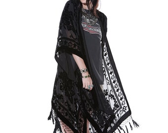 SALE 20% OFF // Black Moonlight Floral Brocade Beaded Tassel Kimono