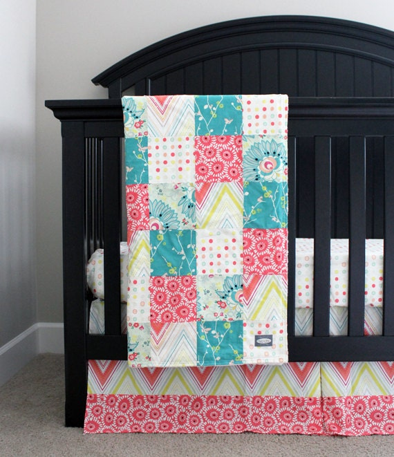 baby girl crib bedding set pink teal yellow floral. Black Bedroom Furniture Sets. Home Design Ideas