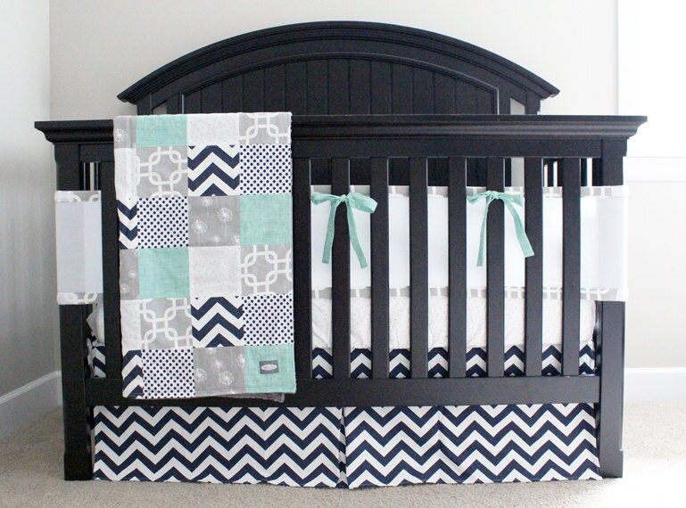 Custom Crib Bedding Mint Navy And Grey Baby Bedding With