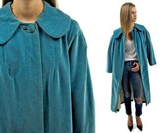 Vintage 60s Velvet Cape Coat, Mod Coat, Over Coat, 60s Opera Coat, Vintage 60s Coat Δ one size