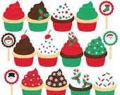 christmas clipart clip art cupcakes desserts - Christmas Cupcakes Clipart