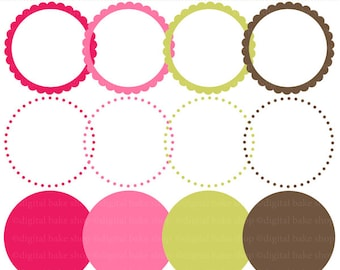 circle frames scalloped digital clipart clip art - Lovely Ladybugs Digital Circle Frames