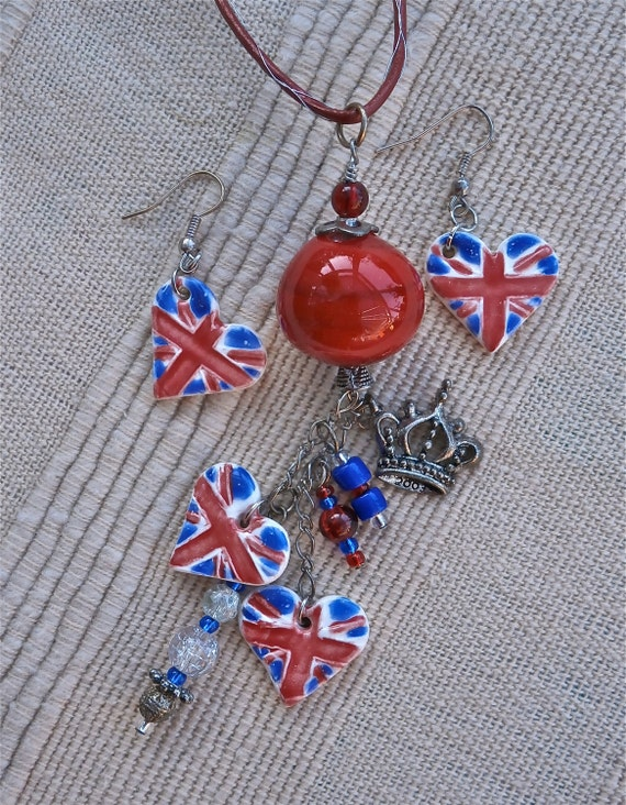 Union Jack pendant and earrings set, red and blue necklace