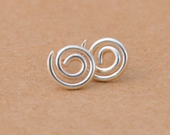 Silver Swirl Earrings handmade with Sterling Silver Studs. 925 Wire Earrings for gifts, birthdays, gifts, parties Handcrafted silver jewelry