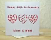 Anniversary Personalised Laser Cut Card