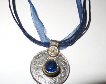 Ribbon Necklace with Old Coin & stone pendant