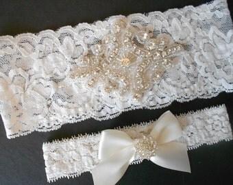TARA Wedding Garter Set Ivory or White Floral Lingerie Stretch Lace Bridal Garter Set With Rhinestone Diamond Setting