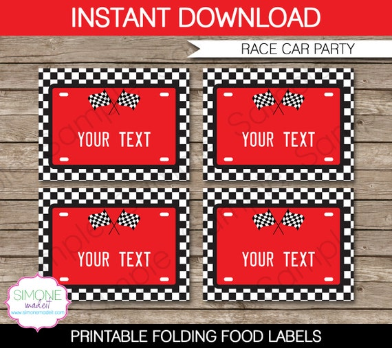 Race Car Food Labels - Buffet Tags - Tent Cards - Party Decorations ...