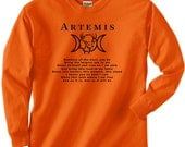 Artemis Hunter's Blessing Long Sleeve Tee - S, M, L, XL, 2x, 3x, 4x, 5x Unisex Pagan Hunting Wiccan Deer Hunter