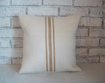 Taupe Striped Pillow Cover - Tan Stripes - Color Choice - 16 x 16 to 24 x 24 - Decorative Pillow - Beach Cottage Pillow - Burlap Pillow