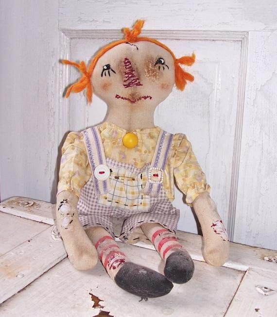 Primitive Grungy Worn Torn Raggedy Ann Annie Doll PrimsGoneWild RWTD-#-00