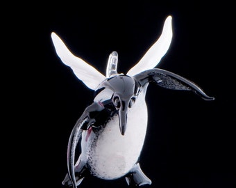 Flying Penguin Glass Ornament, Lampwork Sculpture