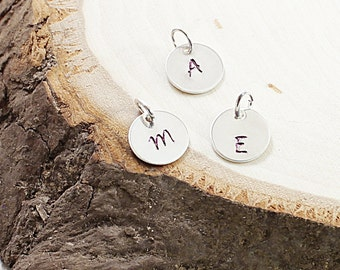 Hand stamped initial charm - ONE personalized charm sterling silver jewelry engraved pendant
