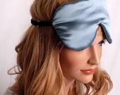 SILK Eye Mask Sleep Mask, Smoky Blue and Charcoal Charmeuse, Fully Adjustable, Padded, Light Darkening for Sleep, Travel and Anti-Aging