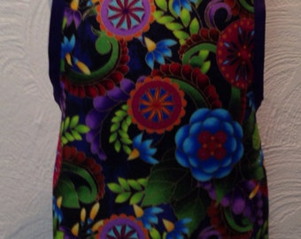 Purple Girls apron with purple trim and ties