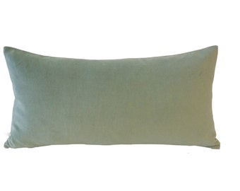 Seafoam Green -Decorative Bolster Pillow Cover -10x20 TO 12x24 Medium Weight Cotton Velvet- Invisible Zipper Closure- Knife Or Piping Edge