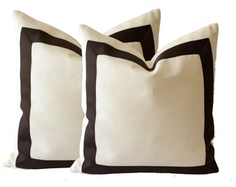 White Cotton Canvas Decorative Throw Pillow Cover with Dark Brown Grosgrain Ribbon Border - Cushion Covers