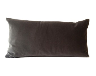 Gray Decorative Lumbar Pillow Cover -10x20 To 12x24 Medium Weight Cotton Velvet - Invisible Zipper Closure- - Knife Or Piping Edge