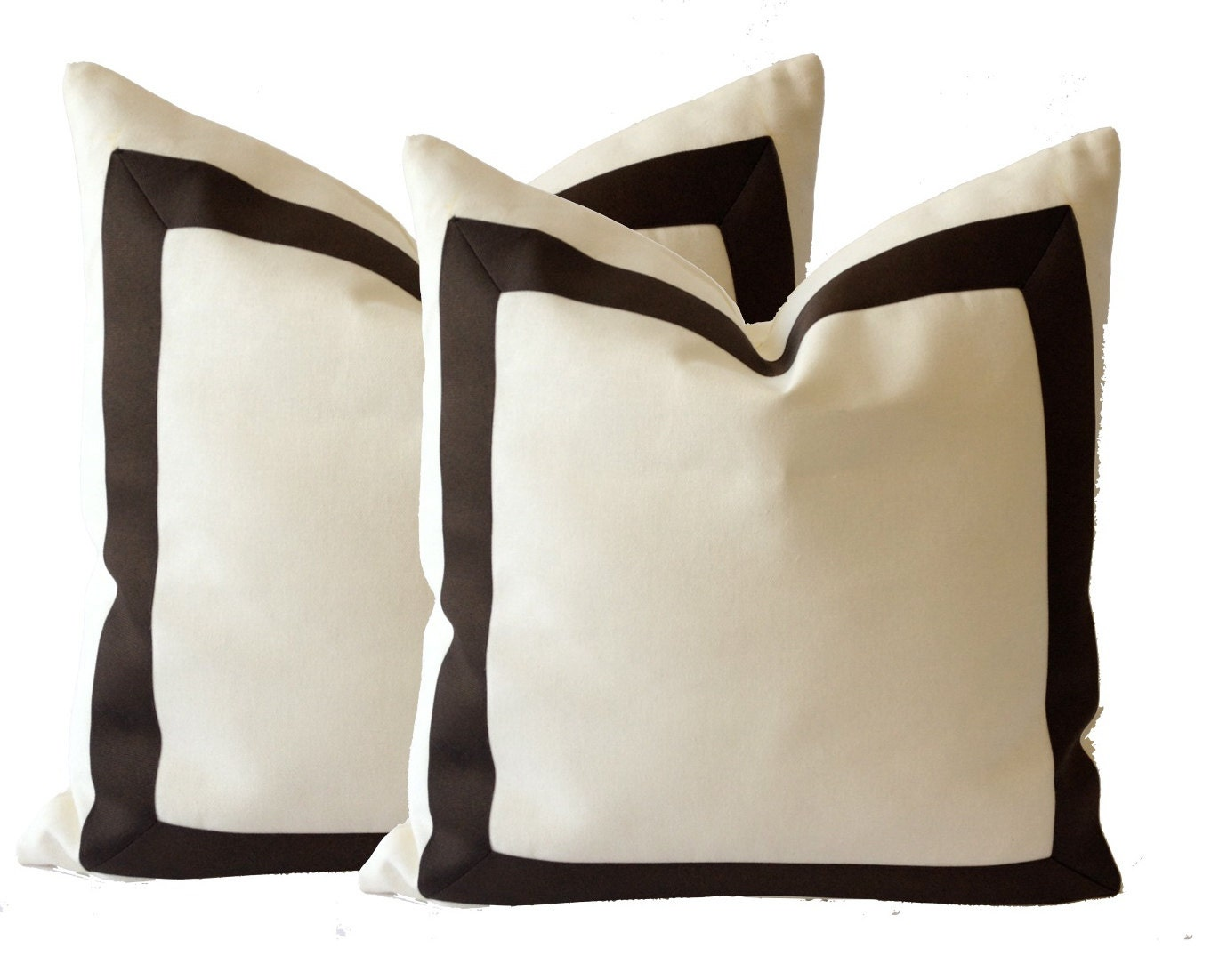 White Cotton Canvas Decorative Throw Pillow Cover with Dark