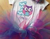 1st birthday owl bodysuit with name, colorful tutu, and matching hair bow in chevron