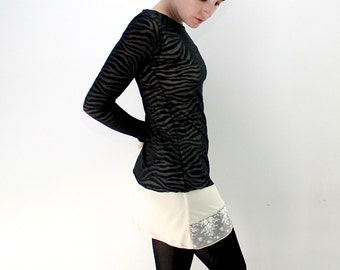 Black zebra lace shirt, Black zebra lace blouse, Basic lace, black zebra blouse, black zebra top, lace top: S-XL