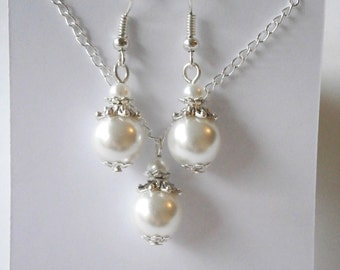 Set of 10, Bridesmaid Jewelry Gift Set, Pearl Pendant and Earring Set, Bridal Jewelry Set