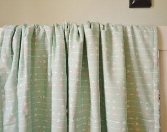 Crib Blanket Mint with Coral Arrows - Arrow Crib Blanket - Mint Baby Blanket - Baby Blanket - Minky Blanket- Arrow Baby Bedding-Mint Bedding