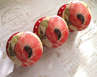 Door Knob, Wooden Drawer Knob, Poppy Design, 50mm, Drawer Pull, Cabinet Knob, Shabby Chic Door Knob