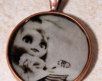 Blythe Necklace, round Art Pendant. cute doll charm,  black lodge jewelry