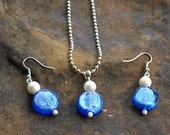 Cobalt Blue Glass and Pearl Beads Pendant and Earrings Set  Vintage Handmade