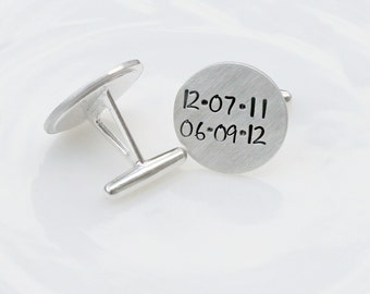 Sterling Silver Cufflinks - Hand Stamped Cufflinks - Custom Cufflinks - Personalized Cufflinks - Valentines Day Gift for Him