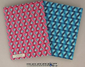 STRIPY HEARTS cotton poplin in two colors