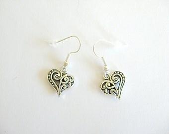 Heart Earrings, Pewter Heart Earrings, Valentine Earrings, Brighton style earrings,