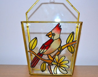 Vintage Stained Glass Wall Hanging Holder with Cardinal Bird