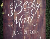 Large Custom Hand Lettered and Painted Wedding Sign - Rustic/Vintage/Barn Wedding