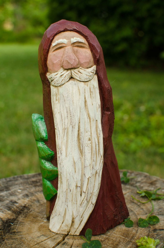 Hand carved cottonwood bark santa with treerobin arnold