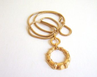 Gold Bamboo Necklace : Golden Leaves vintage gold tone bamboo necklace