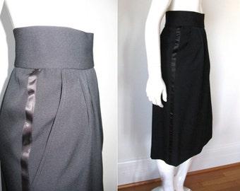 Vintage YSL Yves Saint Laurent 1980s Black Wool Tuxedo Stripe Mid-Length Skirt